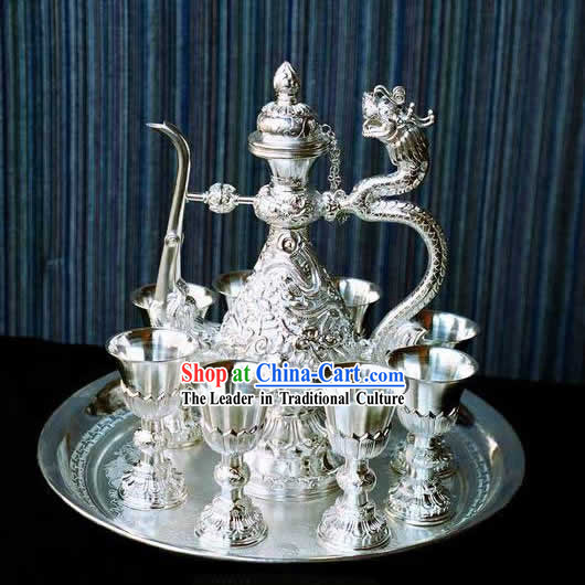 Hand Made Pure Silver Nine Dragons Bottle_10 pieces Set_