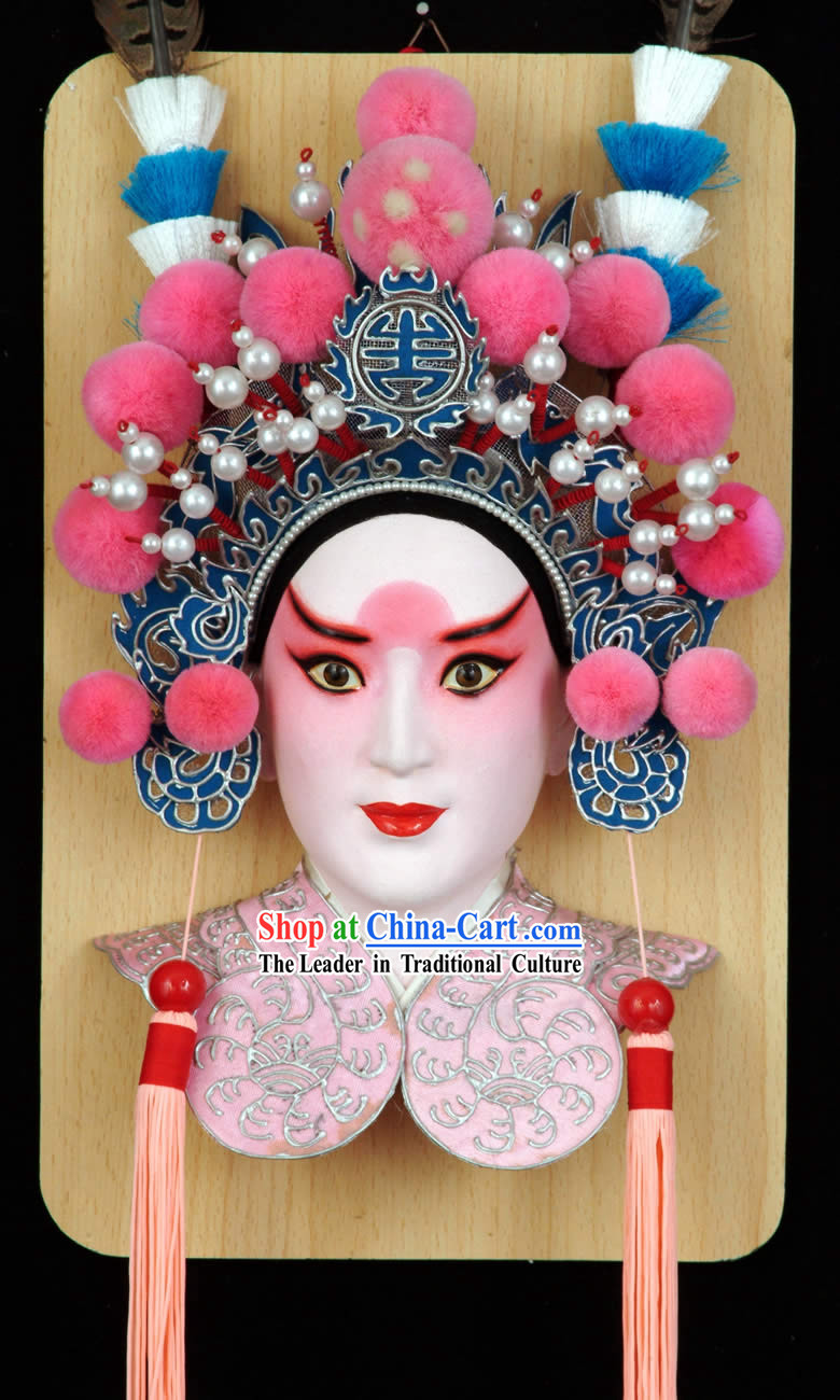 Handcrafted Peking Opera Mask Hanging Decoration - Lv Bu