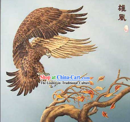 Chinese Classic Large Hand Carved Wood House Solid Decorative Painting-Hawk Landing