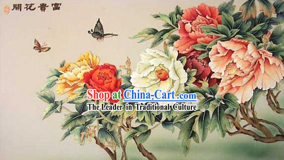 Chinese Classic Hand Carved Wood House Solid Decorative Painting-Riches and Honour Flower