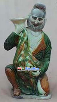 Chinese Classic Archaized Tang San Cai Statue-Hu Figure Holding Vase