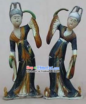 Chinese Classic Archaized Tang San Cai Statue-Tang Dynasty Palace Dancers_Pair_