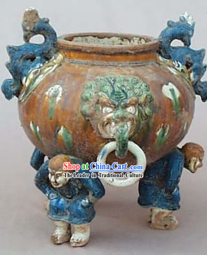 Chinese Classic Archaized Tang San Cai Statue-Three Men Foot Dragon Pot
