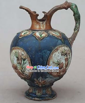 Chinese Classic Archaized Tang San Cai Statue-Lotus Kylin Kettle