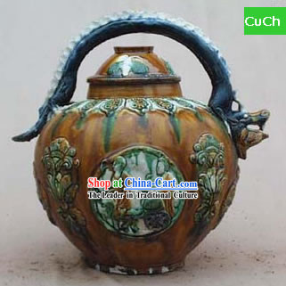 Chinese Classic Archaized Tang San Cai Statue-Dragon Head Shaped Handle Kettle
