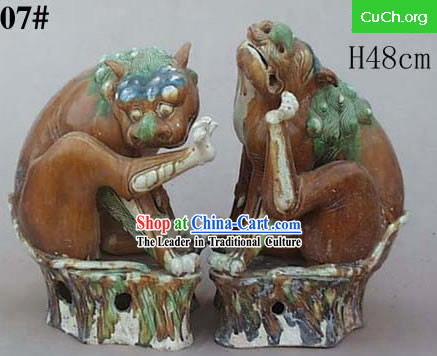 Chinese Classic Archaized Tang San Cai Statue-Pair of Seated Foo Dogs