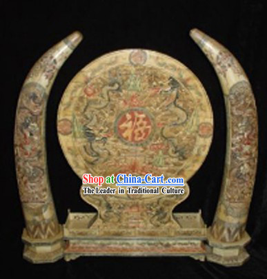 Chinese Classic Ox Bone Handicraft Sculpture Statue-Five Dragons Folding Screen