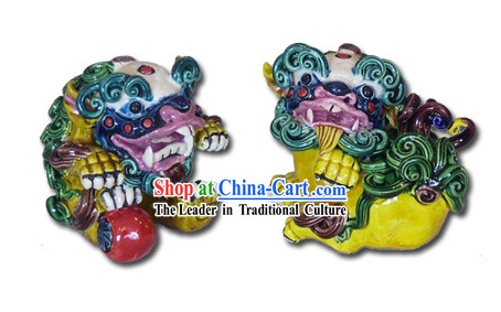 Chinese Cochin Ceramics-Palace Fu Dogs Pair