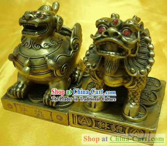 Chinese Classic Brass Statue-Doule Horn Pi Qiu and Single Horn Pi Qiu Set