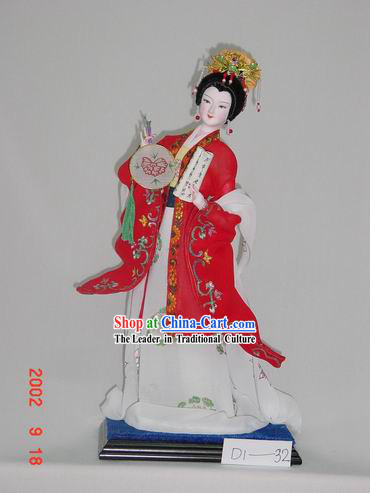 Handmade Peking Silk Figurine Doll - Beautiful Empress in Red