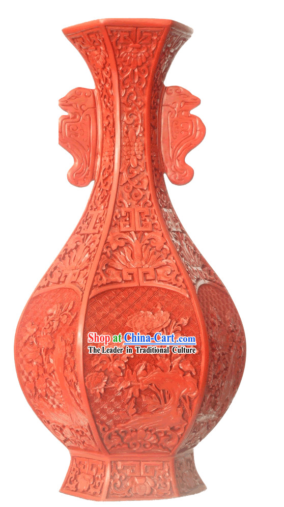 Chinese Palace Lacquer Works-Double Ears Carved Red Bottle