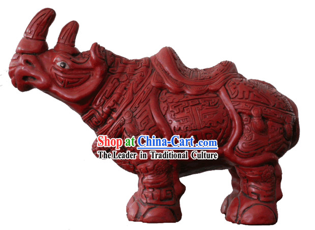 Chinese Hand Carved Palace Lacquer Craft-Rhinoceros