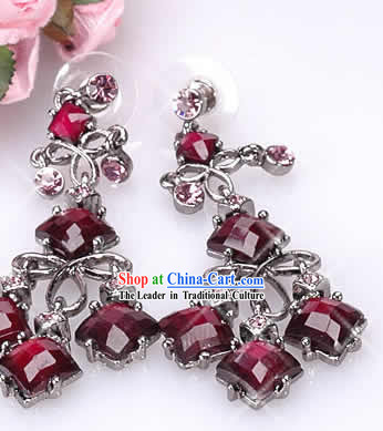 Red Purple Jewelry Inlaid Crystal Earrings