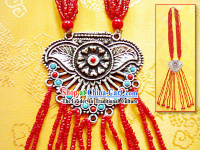 Tibet Stunning Silver Coral Necklace