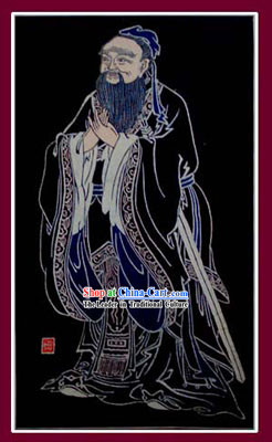 China Hand Made Batik Hanging by Miao Tribe-Confucius