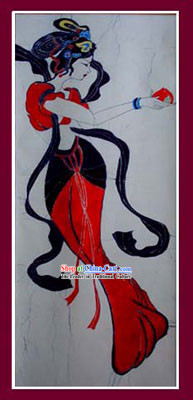 China Hand Made Batik Hanging by Miao Tribe-Flying Apsaras