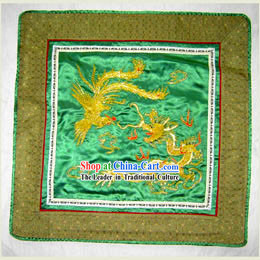 Chinese Classic Hand Made Embroidery Flake-Golden Dragon and Phoenix
