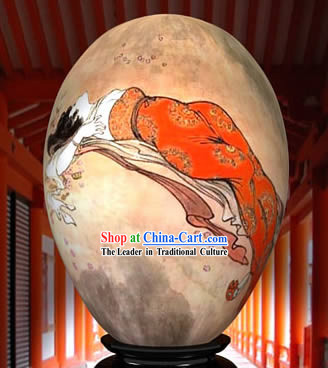 Chinese Wonder Hand Painted Colorful Egg-Ancient Lying Red Woman Painting