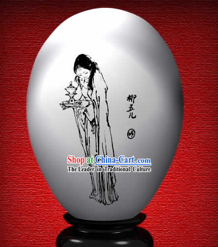 Chinese Wonder Hand Painted Colorful Egg-Liu Wuer of The Dream of Red Chamber
