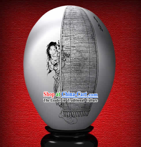 Chinese Wonder Hand Painted Colorful Egg-Bao Yan of The Dream of Red Chamber
