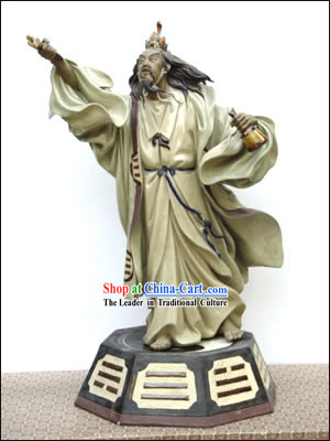Hand Made Foshan Shi Wan Artistic Ceramics Statue-Kong Ming Borrowing The Wind