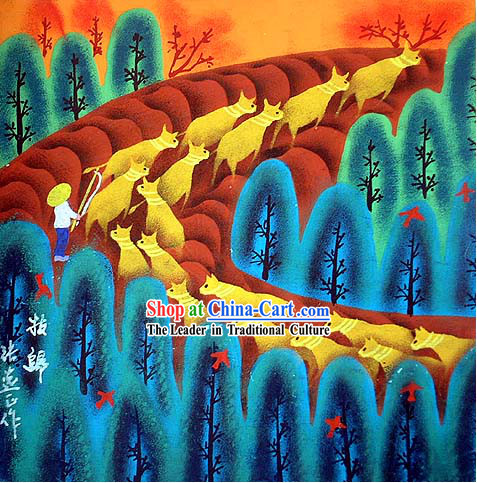 Shan Xi Folk Farmer Painting-Going Home after Working All Day