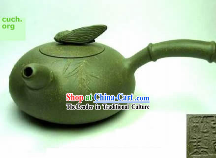 Chinese Hand Made Perfect Green Clay Teapot