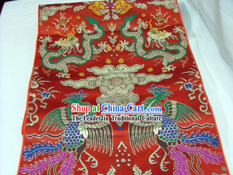 Traditional Dragon and Phoenix Table Runner / Phoenix Scroll
