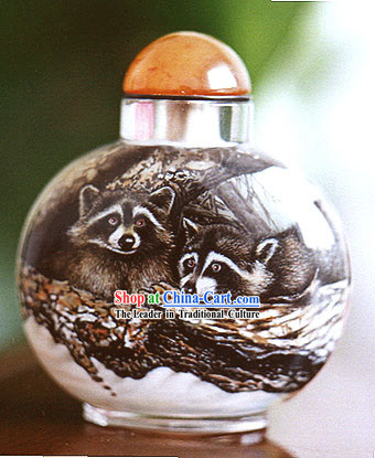 Snuff Bottles With Inside Painting Chinese Animal Series-Palm Civet