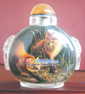 Snuff Bottles With Inside Painting Chinese Animal Series-Fox Lovers