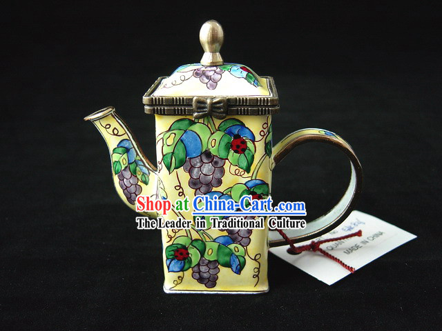 Chinese Hand Painted Enamel Kettle-Ladybird Beetle on Grape Branches and Leaves