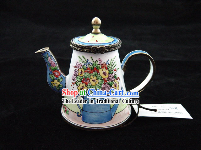 Chinese Hand Painted Enamel Kettle-Wide Flower and Watering Pot
