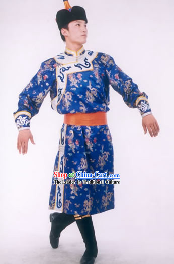 Chinese Traditional Mongolia Prince Costumes and Hat Complete Set