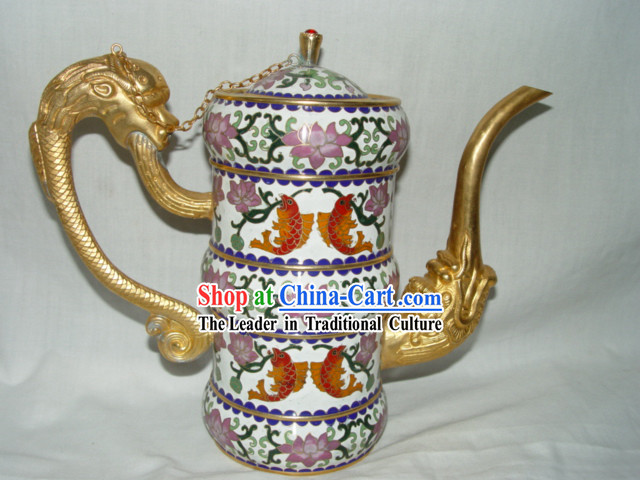Chinese Rare Dragon Head Cloisonne Flagon