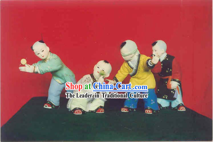 Hand Painted Sculpture Arts of Clay Figurine Zhang-Ancient Kids Playing