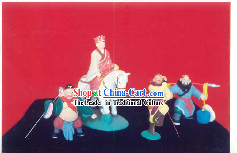 Chinese Hand Painted Sculpture Art of Clay Figurine Zhang-West Journey