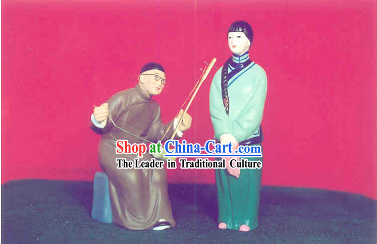 Chinese Hand Painted Sculpture Art of Clay Figurine Zhang-Live on Singing