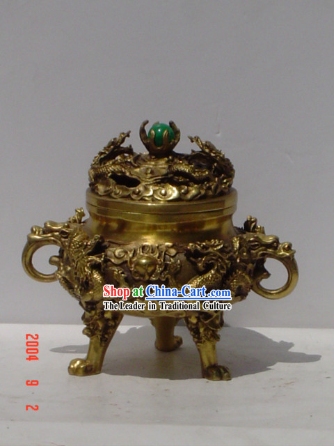 Chinese Classic Brass Statue-Ancient Palace Nine Dragons Censer