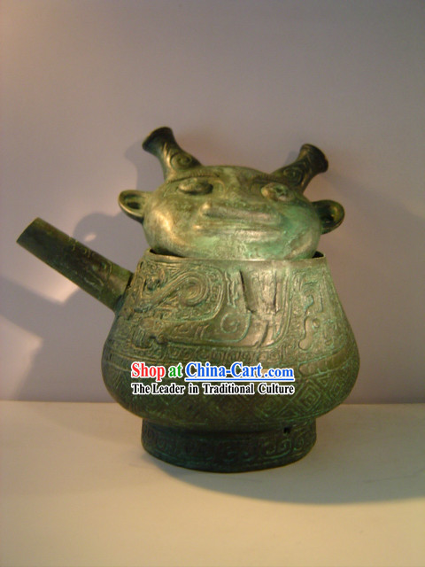 China Classic Archaize Bronze Ware-Man Face Kettle