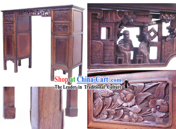 Chinese Traditional Hand Carved Nan Wood Long Console Table