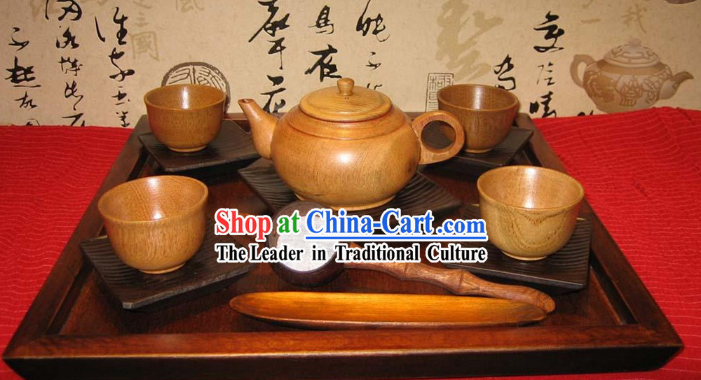 Chinese Hand Made Birch Wooden Tea Set _13 Pieces_