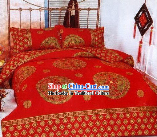Chinese Stunning Cotton Wedding Bed Sheet Set_Four Pieces_-Dragon and Phoenix