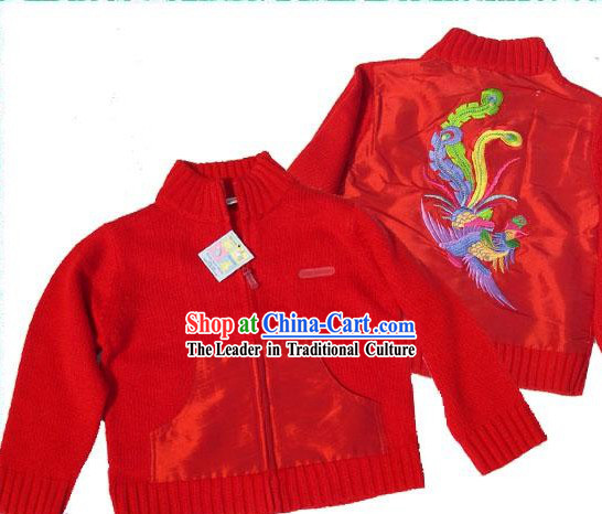 Chinese Hand Embroidery Phoenix Sweater for Child Btween 3-5 Years Old