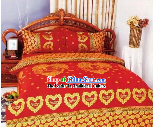 Chinese Classical Cotton Wedding Bed Sheet Set(Four Pieces)-Lover