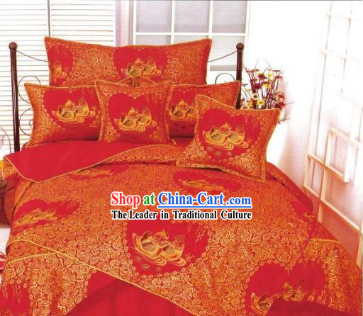 Chinese Classical Cotton Wedding Bed Sheet Set_Four Pieces_-Mandarin Duck
