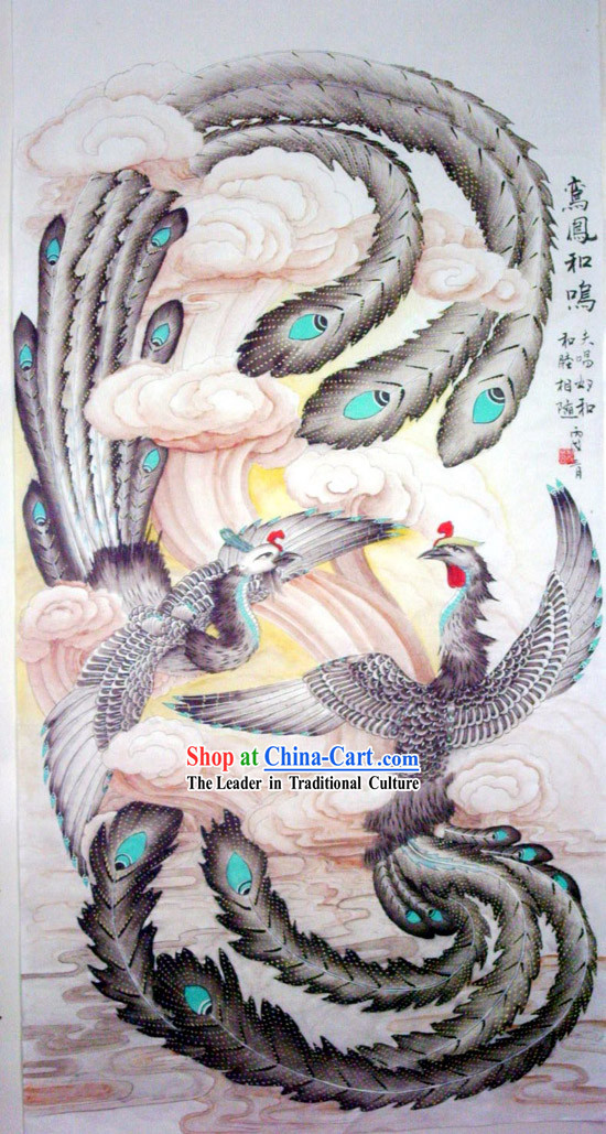 Chinese Traditional Painting with Meticulous Detail-Phoenix Landed