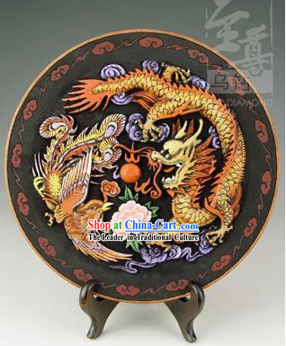 Chinese Hand Carved Healthy Active Carbon Round Plate-Dragon
