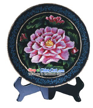 Chinese Hand Carved Healthy Active Carbon Large Round Plate-Peony