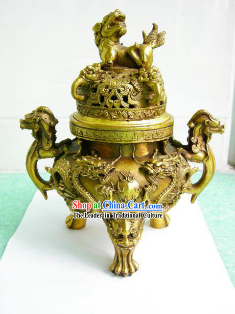 Chinese Classical Brass Collectibles-Dragon Censer