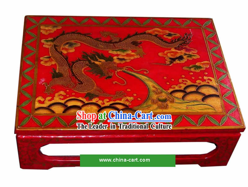 Chinese Coloured Drawing Dragon Tea Table(Kang Table)